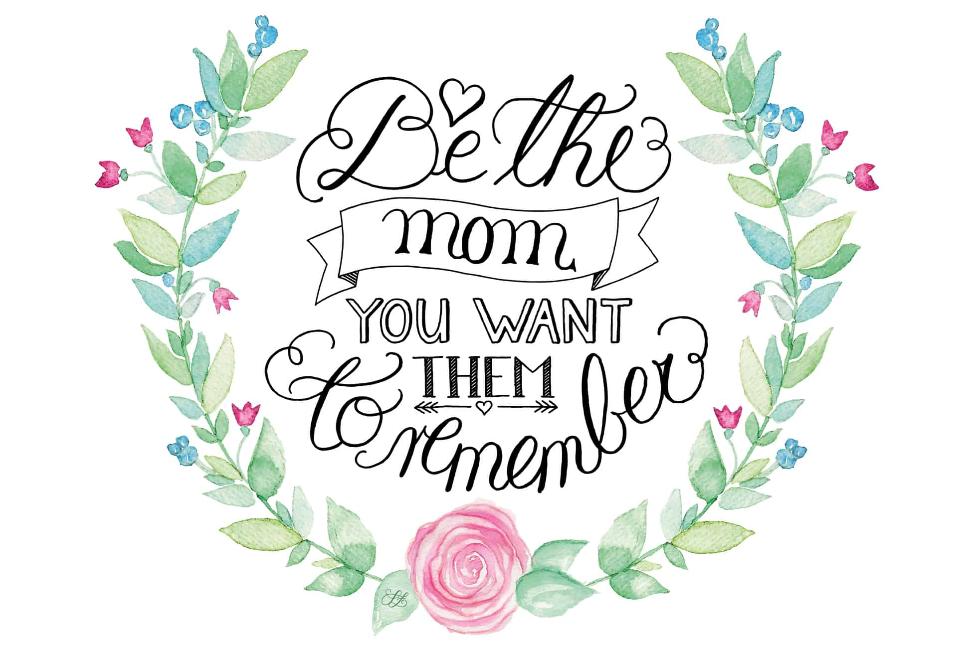 Be the mom you want them to remember, handlettering, lettering, Fotooverlay, Sandra Zabel, sandrazabel.de