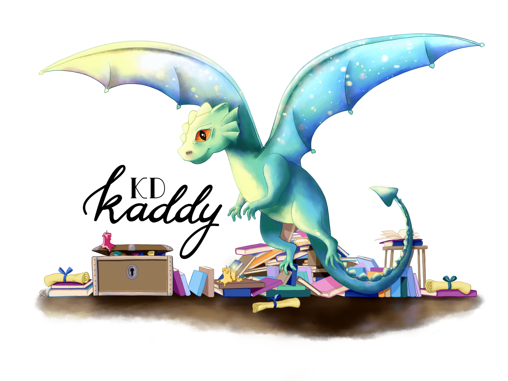 Kaddy KD, Illustration. Webbanner, Sandra Zabel, Drache, dragon illustration,